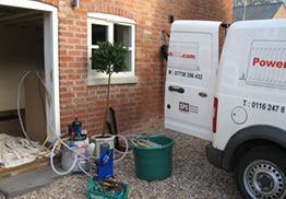 power flush equipment being used outside