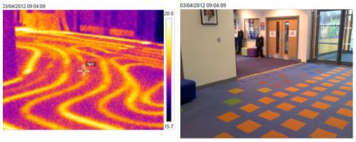 thermal image of underfloor heating in school